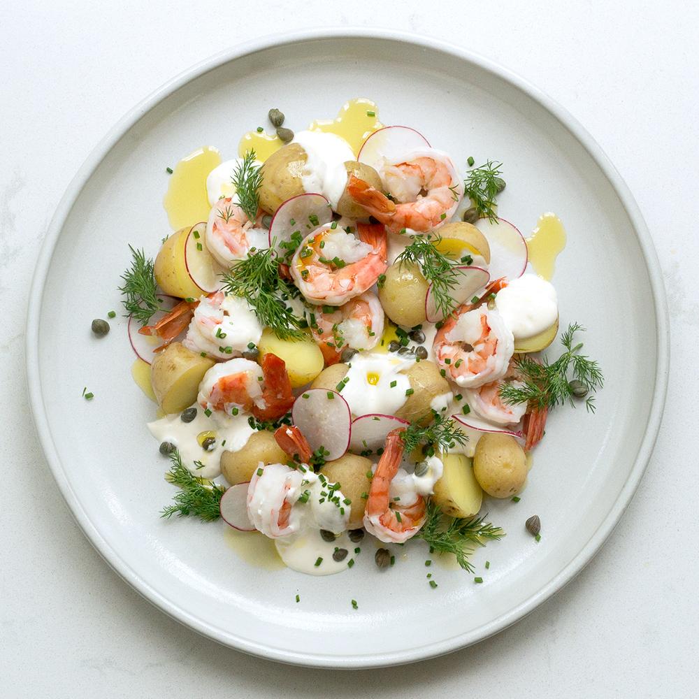 Potato & Prawn Salad with Lemon Yogurt, Capers & Radish