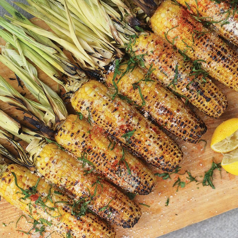 BBQ Corn With Butter, Parmesan,Lemon & Tahini