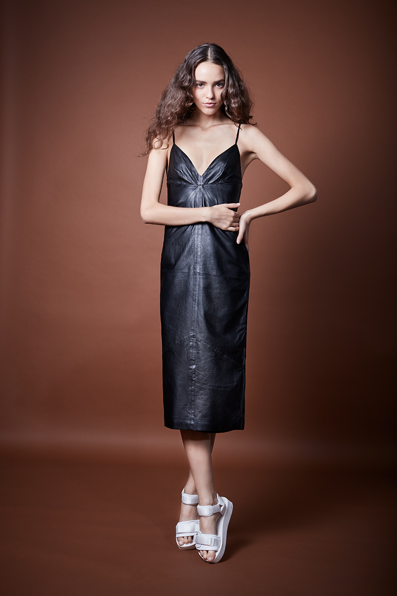 Leather Slip Dress in Black, $995